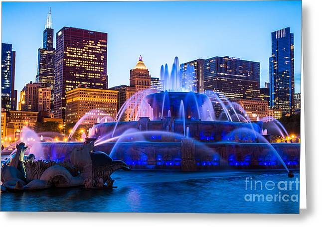 Spraying Greeting Cards - Chicago Skyline Buckingham Fountain High Resolution Greeting Card by Paul Velgos