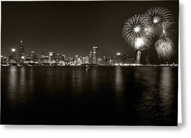 4th July Greeting Cards - Chicago Skyline Fireworks BW Greeting Card by Steve Gadomski