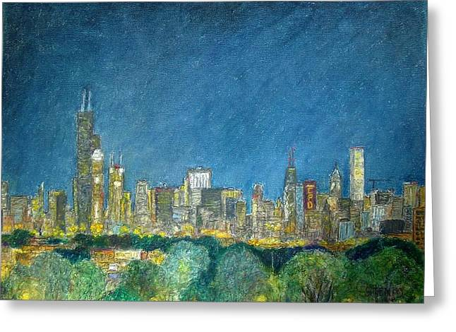 Skylines Pastels Greeting Cards - Chicago Skyline from Comiskey Greeting Card by Jacob Stempky