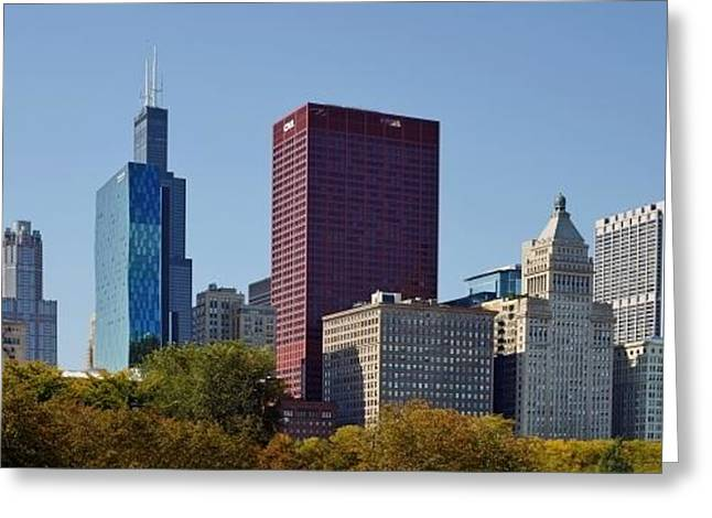 College Greeting Cards - Chicago skyline from Millenium Park Greeting Card by Christine Till