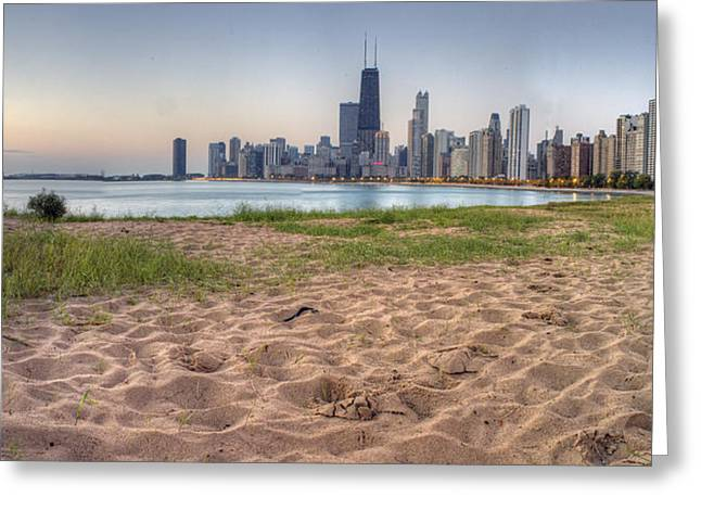 View. Chicago Greeting Cards - Chicago Skyline from North Beach Greeting Card by Twenty Two North Photography