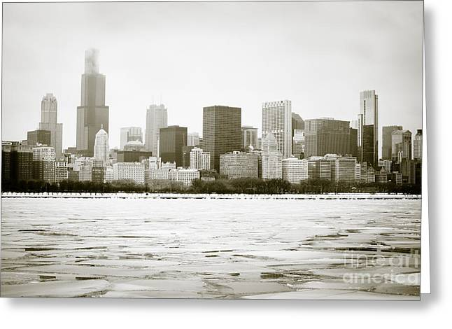 Chunk Greeting Cards - Chicago Skyline in Winter  Greeting Card by Paul Velgos