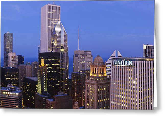 Office Space Greeting Cards - Chicago Skyline Looking Towards Lake Michigan Greeting Card by Jeremy Woodhouse