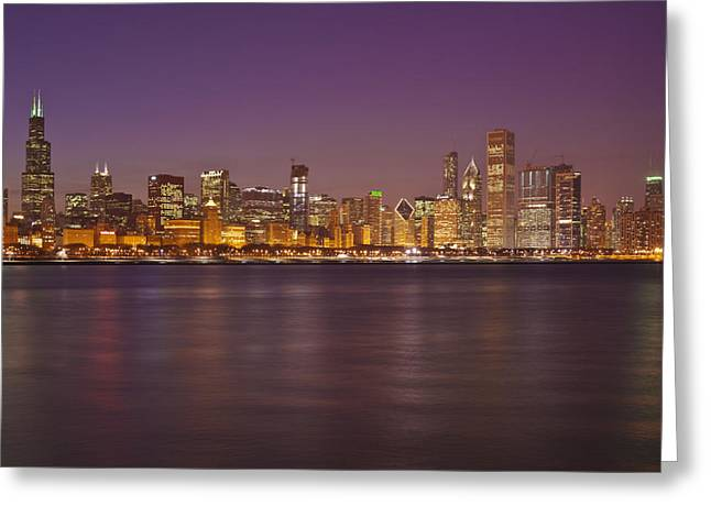 City Lights Greeting Cards - Chicago Skyline March 2009 windy night Greeting Card by Donald Schwartz