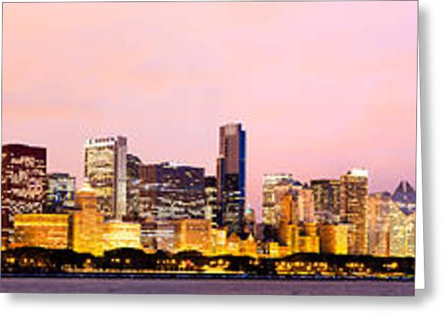 Chicago Skyline Panoramic Greeting Card by Paul Velgos