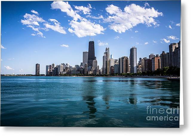 Colorful Photos Greeting Cards - Chicago Skyline Photo with Hancock Building Greeting Card by Paul Velgos