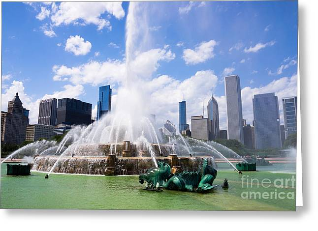 Spraying Greeting Cards - Chicago Skyline with Buckingham Fountain Greeting Card by Paul Velgos