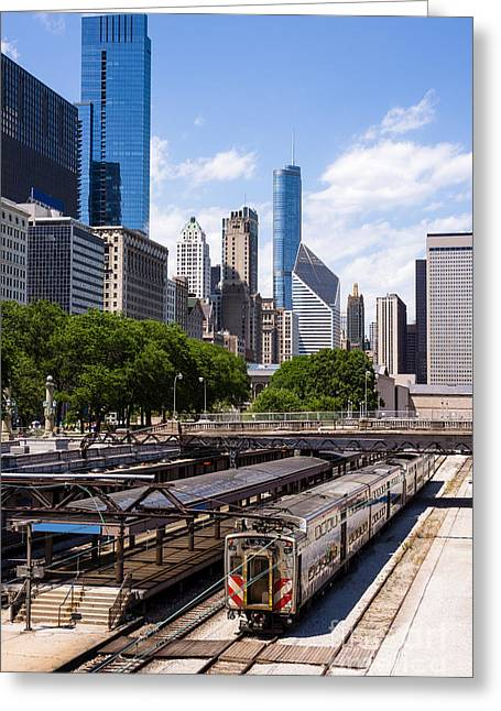 Metra Greeting Cards - Chicago Skyline with Metra Train Station Greeting Card by Paul Velgos