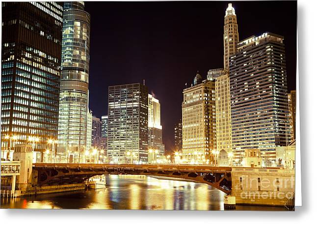 Tinted Greeting Cards - Chicago State Street Bridge at Night Greeting Card by Paul Velgos