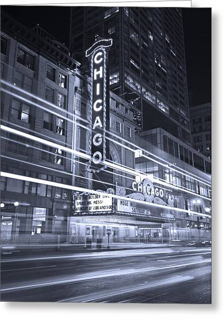 Play Photographs Greeting Cards - Chicago Theater Marquee B and W Greeting Card by Steve Gadomski