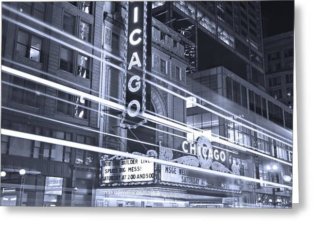 Chicago Theater Marquee B and W Greeting Card by Steve Gadomski