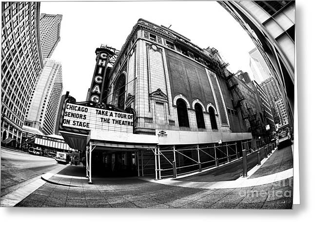 Chicago Artist Greeting Cards - Chicago Theater View Greeting Card by John Rizzuto