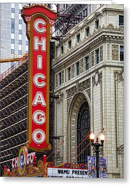 Outdoor Theater Greeting Cards - Chicago Theater Greeting Card by JH Photo Service