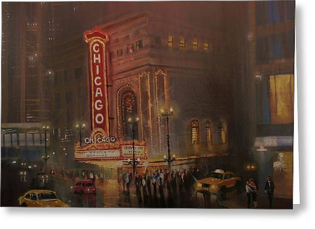 Recently Sold -  - City Lights Greeting Cards - Chicago Theatre Greeting Card by Tom Shropshire