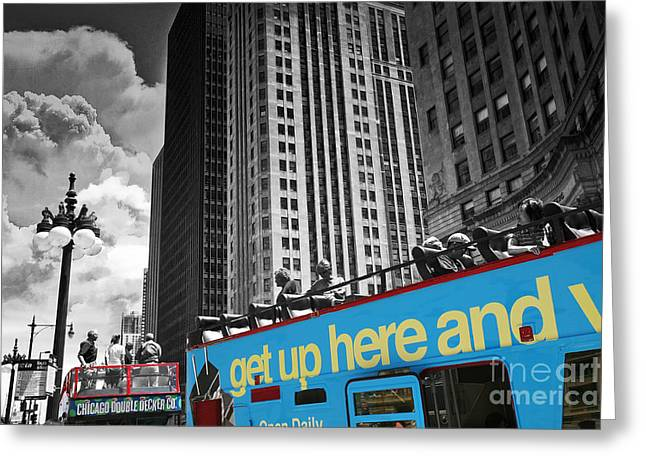 Sightsee Greeting Cards - Chicago Tour Bus Greeting Card by Madeline Ellis