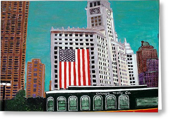 Magnificent Mile Mixed Media Greeting Cards - Chicago Tribune Trolley  Greeting Card by Char Swift