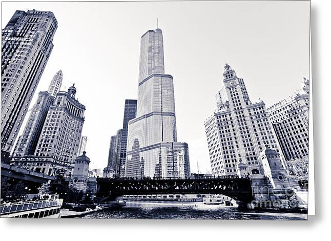 Chicago Trump Tower and Wrigley Building Greeting Card by Paul Velgos