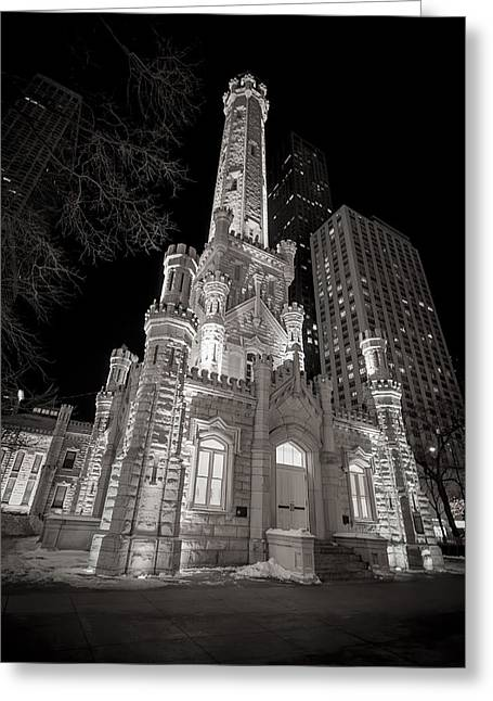 Monochrome Greeting Cards - Chicago Water Tower Greeting Card by Adam Romanowicz