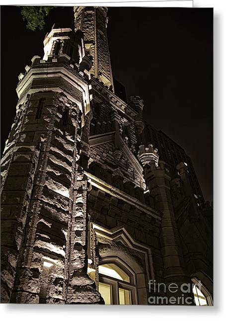 Old Chicago Water Tower Greeting Cards - Chicago Water Tower at Night Greeting Card by Christopher Purcell