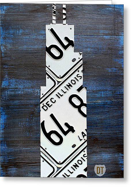 Highway Greeting Cards - Chicago Windy City Harris Sears Tower License Plate Art Greeting Card by Design Turnpike