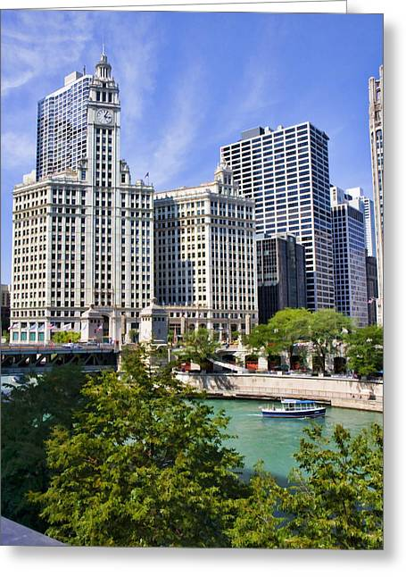 Chicago Greeting Cards - Chicago with boat Greeting Card by Paul Bartoszek