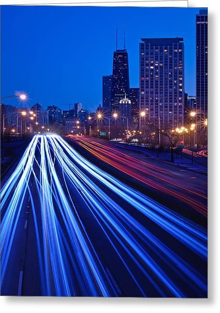 Lake Shore Drive Greeting Cards - Chicagos Lake Shore Drive Greeting Card by Steve Gadomski