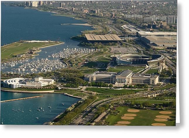 Aerials Greeting Cards - Chicagos Lakefront Museum Campus Greeting Card by Steve Gadomski