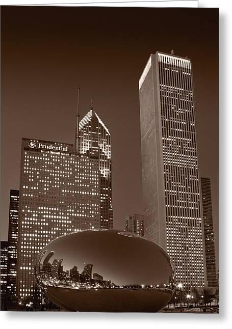 Chicago Black White Greeting Cards - Chicagos Millennium Park BW Greeting Card by Steve Gadomski
