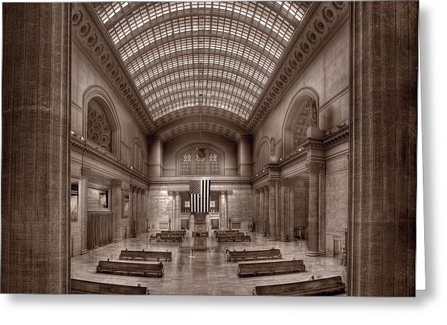 Commute Greeting Cards - Chicagos Union Station BW Greeting Card by Steve Gadomski