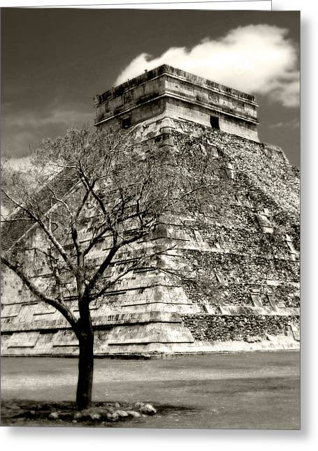 Chichen Itza Greeting Cards - Chichen Itza Blk and White Greeting Card by Chris Brannen