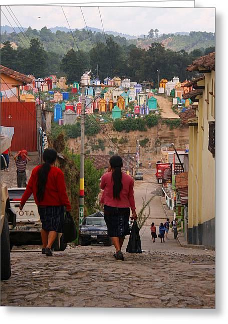 Elizabeth Rose Greeting Cards - Chichicastenango Guatemala - Women walking toward Cemetery Greeting Card by Elizabeth Rose