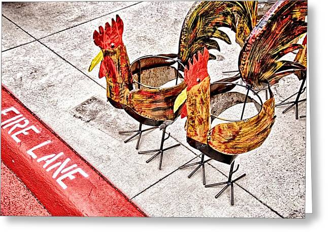 Chicken Crossing Greeting Card by Ken Williams