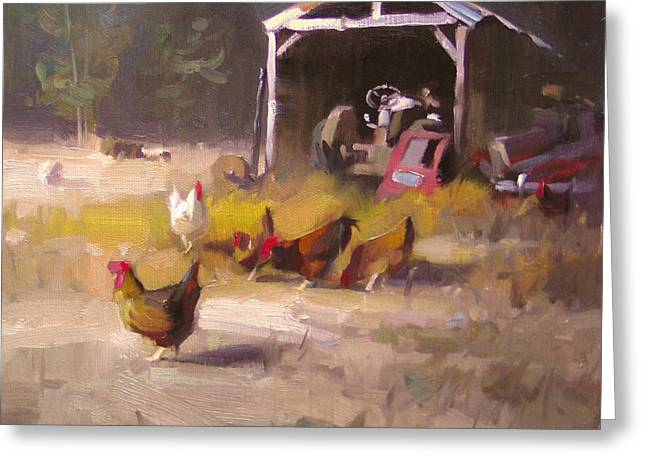 Chickens In Paradise Greeting Card by Richard Robinson
