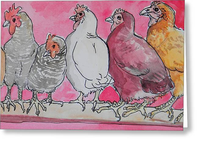 chickens Greeting Card by Jenn Cunningham