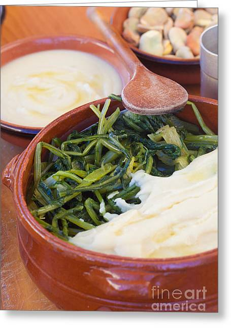 Green Beans Greeting Cards - Chicory and broad bean puree Greeting Card by Sabino Parente