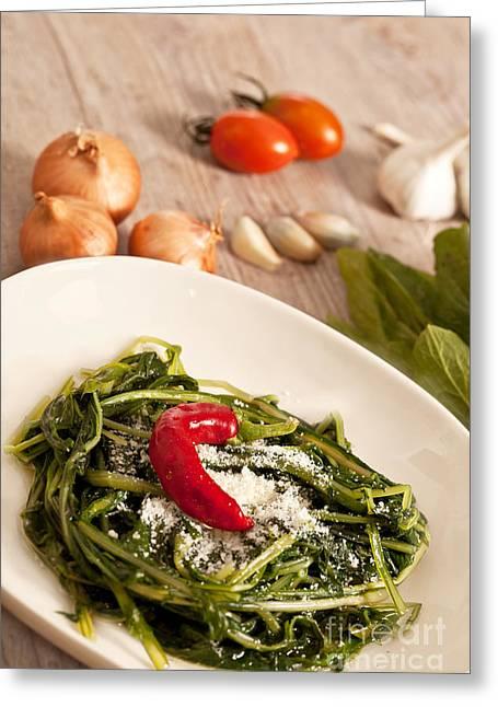 Italian Meal Greeting Cards - Chicory and pecorino Greeting Card by Sabino Parente