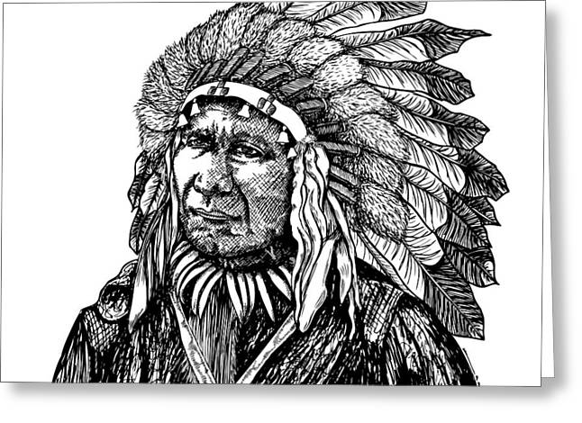 Native American Heroes Greeting Cards - Chief American Horse Greeting Card by Karl Addison