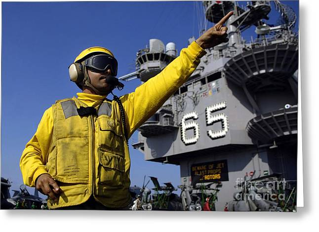 Enterprise Greeting Cards - Chief Aviation Boatswains Mate Directs Greeting Card by Stocktrek Images