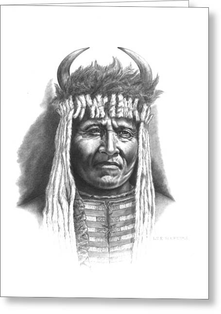 Aboriginal Art Drawings Drawings Greeting Cards - Chief Big Face Greeting Card by Lee Updike