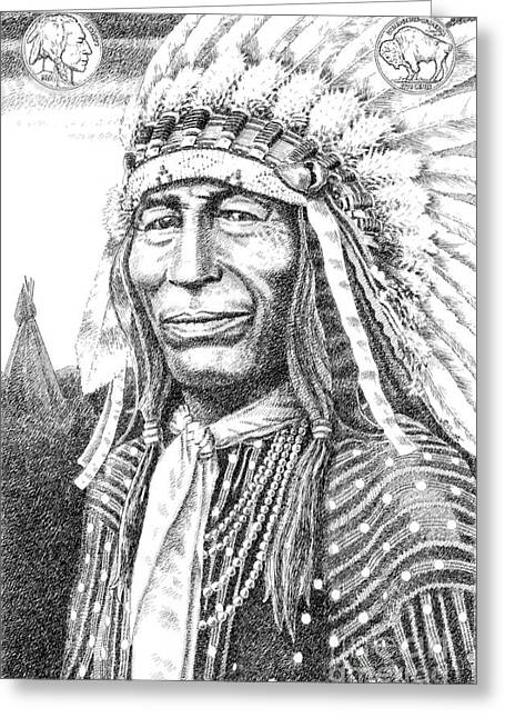 Pen And Ink Drawings For Sale Drawings Greeting Cards - Chief-Iron-Tail Greeting Card by Gordon Punt