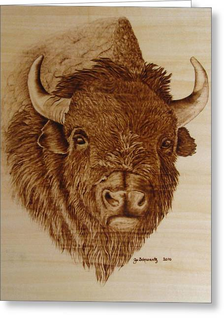 Woodburning Greeting Cards - Chief Greeting Card by Jo Schwartz
