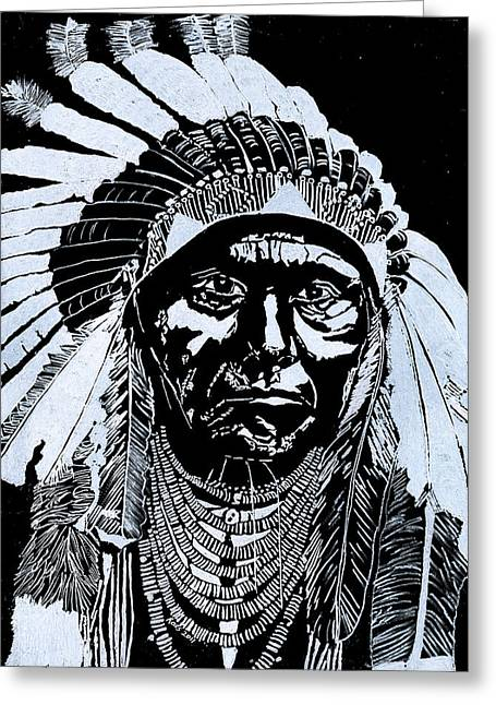 Drawing Glass Art Greeting Cards - Chief Joseph Greeting Card by Jim Ross