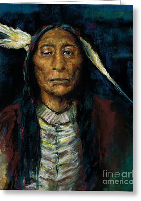 Western Western Art Pastels Greeting Cards - Chief Niwot Greeting Card by Frances Marino
