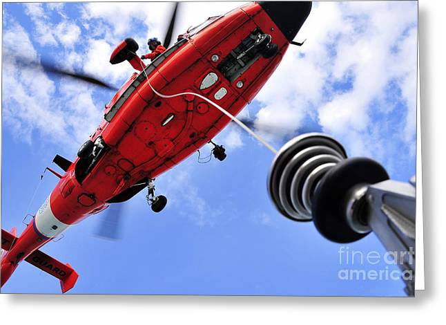 Rescue Photographs Greeting Cards - Chief Petty Officer Looks Out The Door Greeting Card by Stocktrek Images
