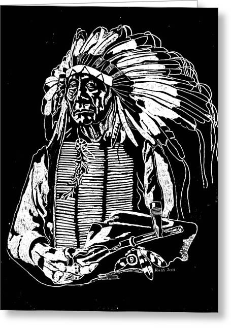 Clouds Glass Art Greeting Cards - Chief Red Cloud 2 Greeting Card by Jim Ross