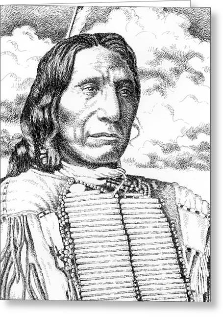 Pen And Ink Drawings For Sale Drawings Greeting Cards - Chief-Red-Cloud Greeting Card by Gordon Punt
