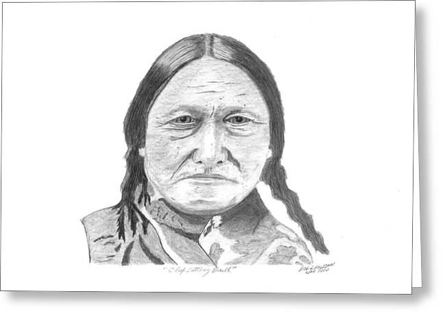 Reservations Drawings Greeting Cards - Chief Sitting Bull Greeting Card by Bob Garrison