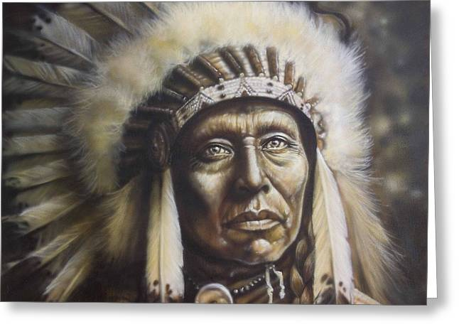 Indian Portraits Greeting Cards - Chief Greeting Card by Tim  Scoggins