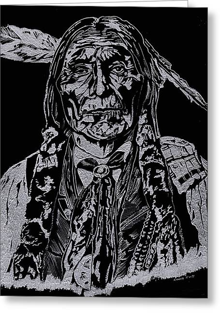 Men Glass Greeting Cards - Chief Wolf Robe Greeting Card by Jim Ross