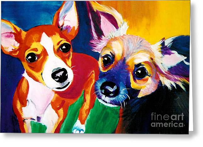 Chihuahua Colorful Art Greeting Cards - Chihuahua - Dos Perros Greeting Card by Alicia VanNoy Call